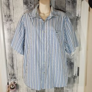 Lacoste striped modern fit button up shirt 45 xxl